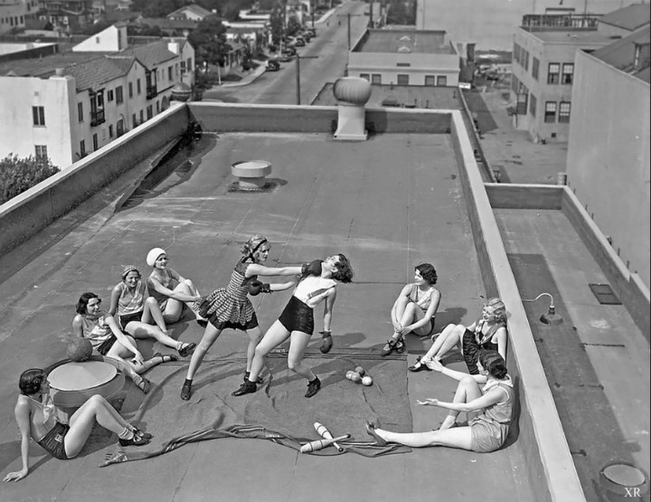 Women Boxing on Rooftop