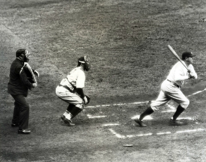 Babe Ruth Hitting Home Run