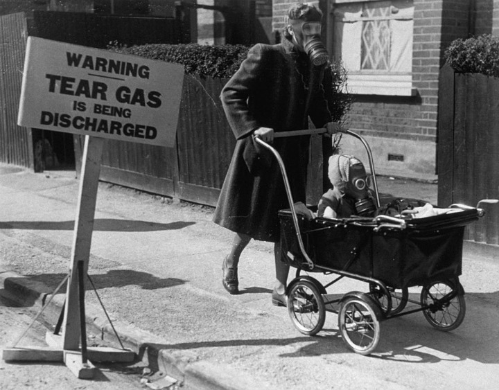 Baby Carriages Against Gas During WWII