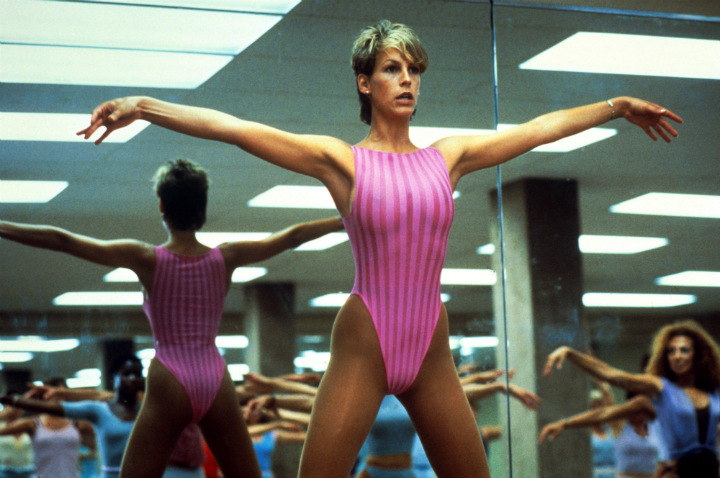 Jamie Lee Curtis in Pink Leotard in Movie Perfect
