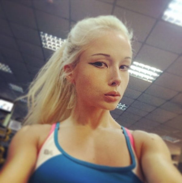 human barbie working out