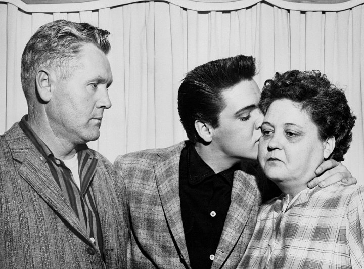 Elvis Presley Kisses His Mom Gladys on the Eve of His Induction into the Army