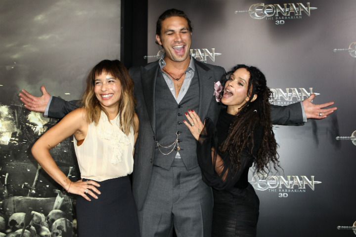 Jason Momoa Lisa Bonet Zoe Kravitz at premier