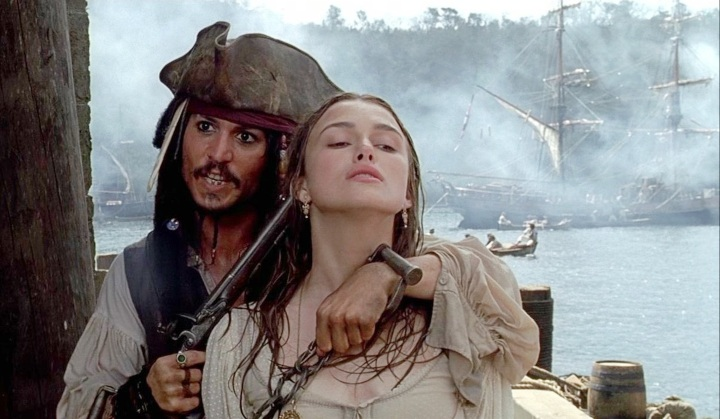 Johnny Depp and Kiera Knightly in Pirates of the Caribbean The Curse of the Black Pearl, production mistakes