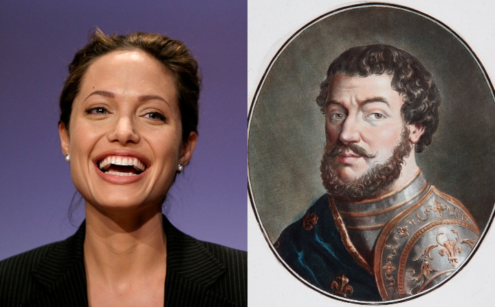 Angelina Jolie and King Philip II, historic ancestors