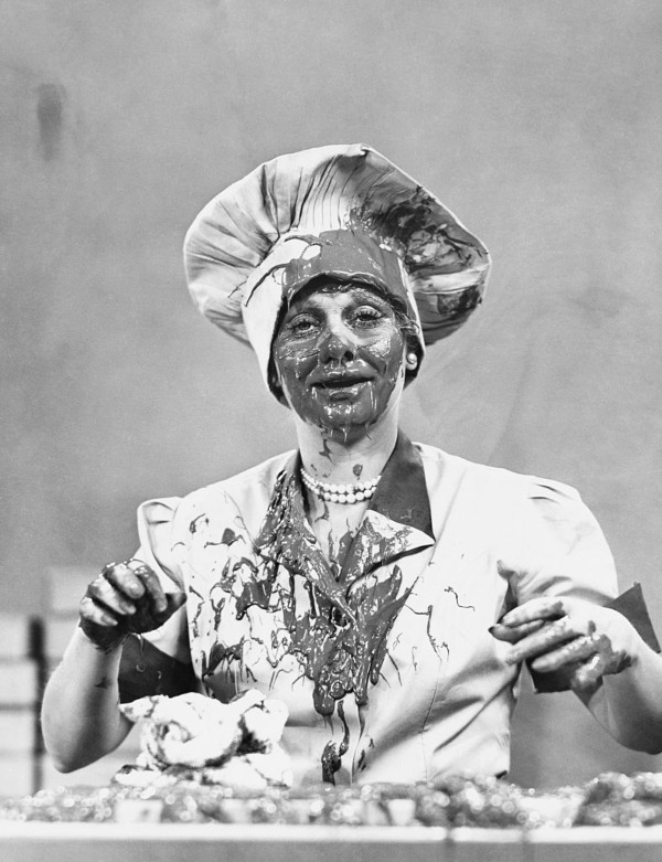 Lucille Ball with chocolate on her face