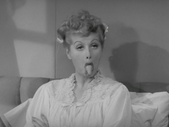 Lucille Ball sticking out her tongue