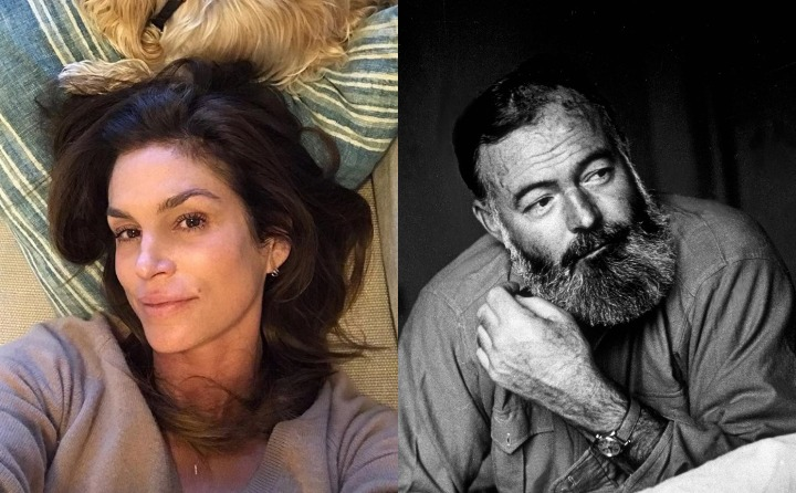 cindy crawford and earnest hemingway, historic ancestor