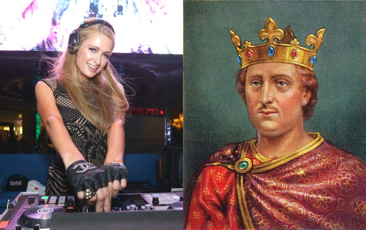 paris hilton and king henry II, historic ancestor