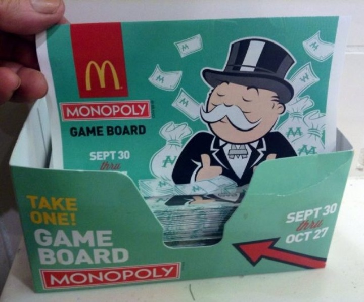 McDonald's monopoly board game